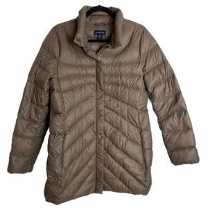 Land's End Taupe Long Down Puffer Winter Coat M
